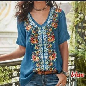 Blue embroidered look top